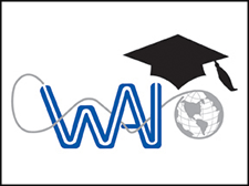 The WAI Education logo portrayed with the WAI logo and a graduation cap.