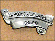 A closeup of the Mordica Memorial Award plaque.